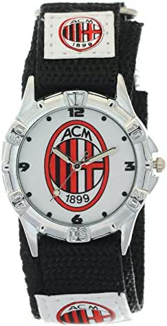 Timermall AC Milan Black Fabric Velcro Strap Analogue Kids Sport Watches