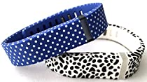 Large 1 Blue with White Dots Spots 1 Dalmatian Band for Fitbit FLEX Only With Clasps Replacement /No tracker/