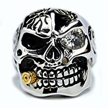 Metal Masters Co.® Casted Stainless Steel Skull Ring with Cubic Zirconia & Bullet Sizes 9 to 15