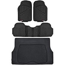 Motor Trend Flextough Rubber Car Floor Mats & Cargo Trunk Mat Set Black Heavy Duty - Odorless, Extreme Duty (Black)