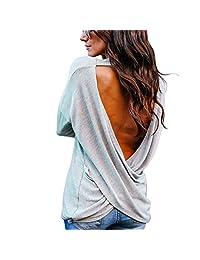 Rambling Women's Sexy Backless Loose Shirt Long Sleeve Open Back Cross Tee Top Blouse