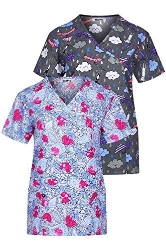 (MedPro Women's Printed Mock Wrap Medical Scrub Top Multi Pack ASTD:Purple,Blue XS)