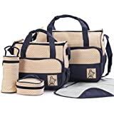 5 Piece Set Diaper Bag Tote - for Mom or Dad with Stroller Straps, Changing Pad, Insulated Pockets, Waterproof Baby Diaper Bag, Organizer Pouches, Nappy Carry on Bag for Girls or Boys By BABY JUJA (Dark Blue)