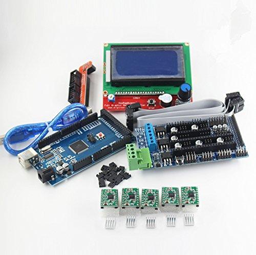 WillBest 3D Printer kit 1pcs Mega 2560 R3 + 1pcs RAMPS 1.5 Controller+ 5pcs A4988 Stepper Green Driver Module + 1pcs LCD 12864 Controller by WillBest