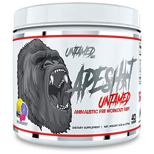 Untamed Labs Ape Sh*t, Pre-Workout Supplement, Immediate and Sustained Energy, Increased Performance and Endurance, Elevated Nitric Oxide Production, Smash Berry, 40 Scoops