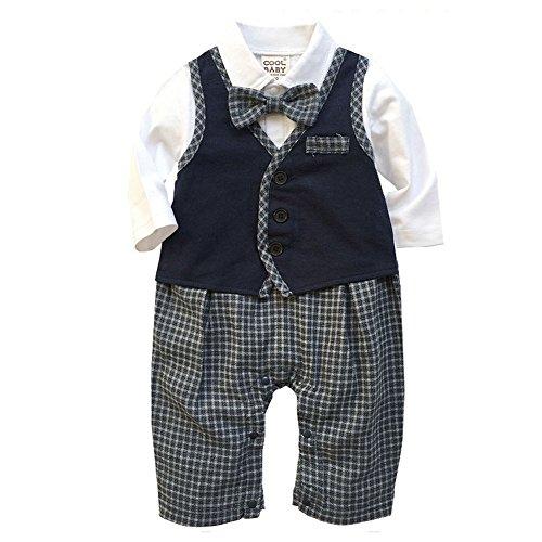 KiwiTwo ropa para bebés de esmoquin para los bebés varones mamelucos de la  ropa del cuerpo Ropa de algodón bautismo total a largo bowknot impresiones  de la ... 0176cd8ecb2