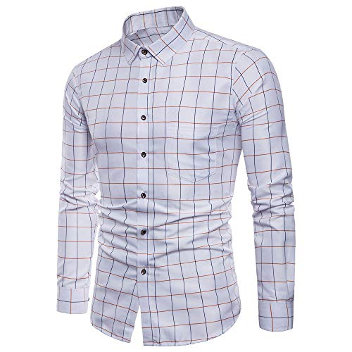 Men's Shirt Fitfulvan Long Sleeve Oxford Formal Casual Plaid Slim Fit Tee Dress Shirts Blouse Top - 3 Button Wool 120's Suit