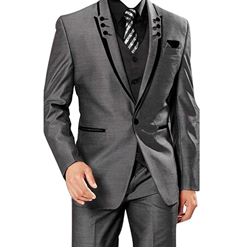HBDesign Mens 3 Piece 1 Button Peak Lapel with 6 Button Suits (Jacket Vest Pants) Grey