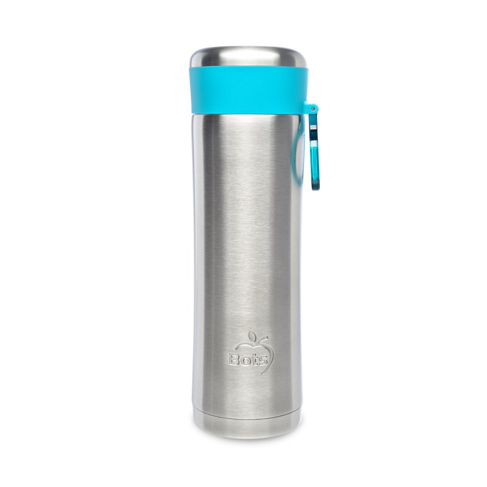 LunchBots Insulated Kids' Water Bottle (14oz) - Keeps Drinks Cold for 24 Hours - Lightweight Stainless Steel - Double Walled, Dishwasher Safe and Durable - Aqua
