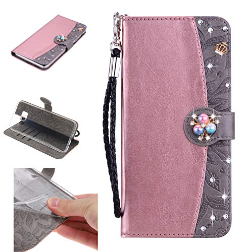 - Amocase Strap Wallet Case with 2 in 1 Stylus for Samsung Galaxy S8 Plus,3D Diamond Crown Color Block Premium Beaded Magnetic PU Leather Stand Clear Slicone Back Case for Galaxy S8 Plus,Rose Gold Gray