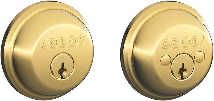 Bright Brass Schlage B62N 505 Double Cylinder Deadbolt