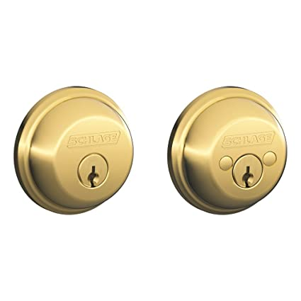 Schlage B62N505 Deadbolt, Keyed 2 Sides, Bright Brass
