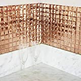 Efavormart 10 Pack Rose Gold Self-Adhesive Mirror Backsplash Peel & Stick Wall Tile Panels with Reflected Mirror Surface- 10Sq.ft