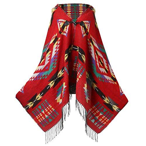 (FENTI Bohemian Fringe Cape, Thicker Daily Fashion Cloak Shawl Pashmina for Women , Red , One Size)