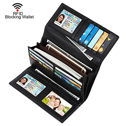 Dante Women RFID Blocking Real Leather Trifold Wallet - Clutch Checkbook Wallet for Women - Shield Against Identity Theft(Black1) ()