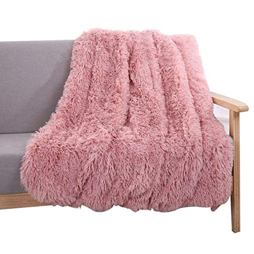 YOUSA Super Soft Shaggy Faux Fur Blanket Ultra Plush Decorative Throw Blanket 51''63'',Peachy -