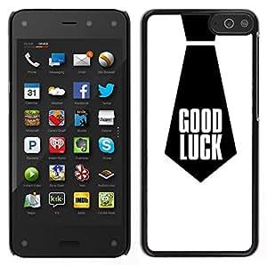EJOY---Cubierta de la caja de protección para la piel dura ** Amazon Fire Phone ** --Buena Suerte Cita Trabajo corbata Negro