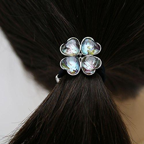 Tamarusan Ponytail Holder Clover Blue Hair Ornament Hair Elastic by TAMARUSAN (Image #3)