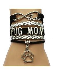 Infinity Love Pug Mom Bracelet-Animal Dog Paw Print Charm Puppy Bracelets