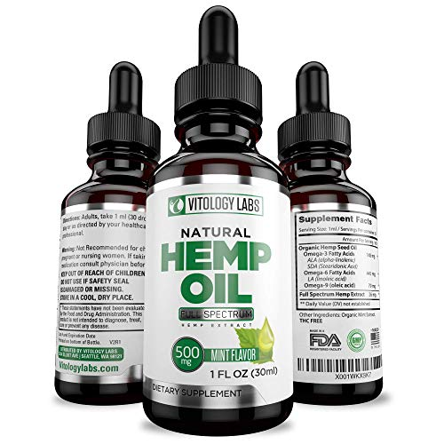 Full Spectrum 500MG Hemp Oil Extract Reduces Pain, Anxiety and Stress. Helps with Sleep, Mood, Skin, Hair, Anti Inflammatory & Joint Support Perfectly Balanced MCT Fatty Acids Omega 3 & 6