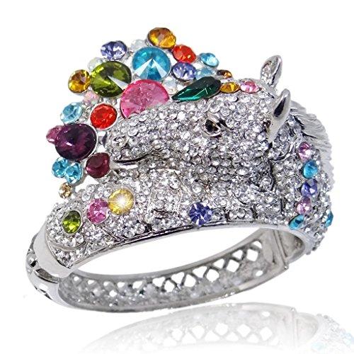 EVER FAITH Austrian Crystal Art Deco Steed Horse Teardrop Bangle Bracelet Multicolor Silver-Tone