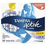 Tampax Pearl Active Plastic Tampons, Light/Regular Absorbency Multipack, Unscented, 34 Count - Pack of 6 (204 Total Count) (Packaging May Vary)