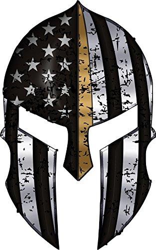 Warriors-Bleed-Gold-Spartan-Helmet-Metallic-Thin-Blue-Line-Decal