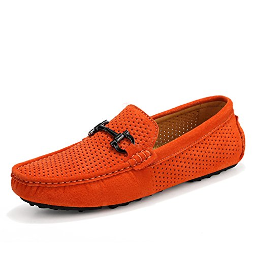 Go Tour Mens Classic Moc Toe Buckle Casual Suede Leather Loafers Driving Shoes A-orange QdLlX