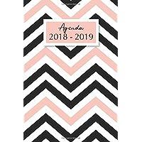 Agenda 2018-2019: Agenda Scolaire de Juillet 2018 à Août 2019, Semainier simple & graphique, motif chevrons rose et noir
