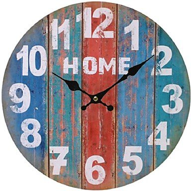 AMEA Round Vintage France Paris Colourful French Country Tuscan Style Paris Creative Wood Wall Clock Watch , 7 (French Table Clock Style Wood)