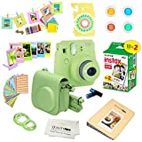 Fujifilm Instax Mini 9 Instant Camera – LIME GREEN + Fuji INSTAX Film (20 Exposures) + Multifarious Instax Accessory Kit BUNDLE Includes; Case/Strap & Album + Fun Frames/Stickers/Lenses + MORE