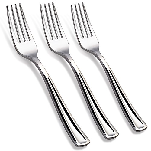 125 - Disposable Silver Forks Looks Like Silver Plastic Silverware - Solid, Durable, Heavy Duty Cutlery