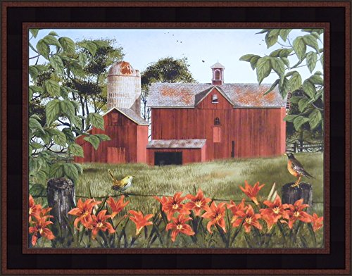 Home Cabin Décor Summer Days by Billy Jacobs 15x19 Red Barn Robin Tiger Lilies Flowers Birds Fencepost Framed Folk Art ()