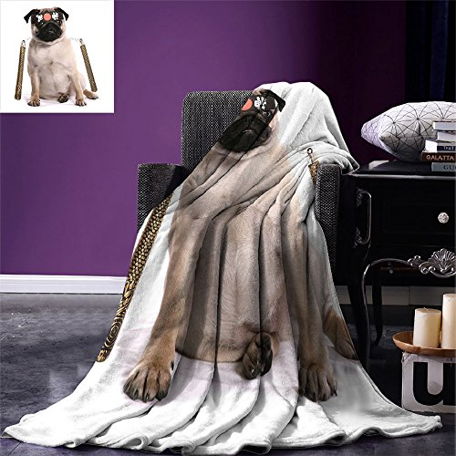 smallbeefly Pug Digital Printing Blanket Ninja Puppy with Nunchuk Karate Dog Eastern Warrior Inspired Costume Pug Image Summer Quilt Comforter Cream Black Gold