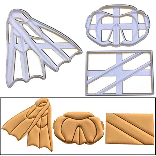 Cutter Scuba (SET of 3 Scuba Diving cookie cutters (flag, flippers and mask goggles), 3 pcs, Ideal gift for scuba divers and instructors)