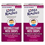Little Remedies Decongestant Nose Drops | Phenylephrine Hydrochloride, Alcohol-Free | 0.5 Fluid Ounces | 2-Pack