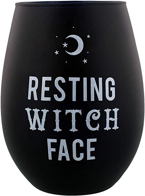 RESTING WITCH FACE STEMLESS WINE GLASS GIFT NOVELTY BLACK CUP