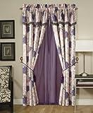 Chezmoi Collection 4-Piece Purple Rose Flower Garden Jacquard Window Curtain/ Drape Set, with Valance and Tassels