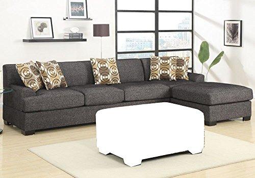 BOBKONA Poundex Benford Collection Faux Linen Chaise Sofa, 2-Piece, Ash Black Ash Leather Sofa