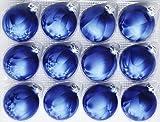 12 dunkelblaue Weihnachtskugeln (Eislack)