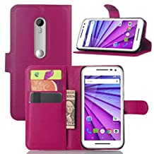 Premium Leather Wallet Case Cover with Stand Card Holder for Motorola Moto G (3rd Gen, 2015) (Wallet - Rose)