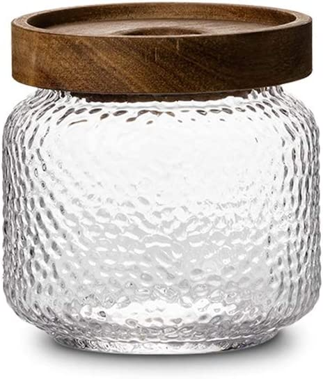 Glass Jar Containers by NUTRIUPS 12 OZ (350ML)- Glass Jar with Wooden Lid- Coffee Bean Jar, Nuts Storage Container, Candy or Cookies Container