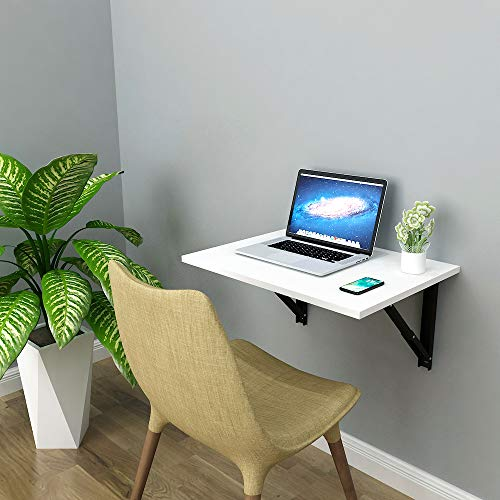 A10SHOP Athena F60 Wall Mounted Folding Study/Computer/Laptop Table, Work Desk for Home Office, Size: 60cm x 45cm *Made in India*Frosty White