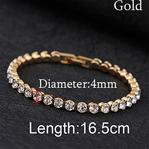 - 1 Pc Newest Women Shiny Silver Bracelets Charm Austria Crystal Cuff Bangles Jewelry Best Gift For Women Gold 4mm
