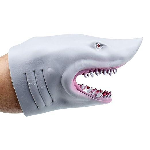 TwoCC Guantes,Tpr Plástico Gris/Azul Tiburón Mano Guante Juguete ...