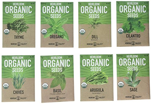 Organic, Heirloom, Non-GMO, Herb Garden Seeds – 8 Variety Kitchen Herbal Gardening Assortment - Arugula, Basil, Chives, Cilantro, Dill, Oregano, Sage, Thyme (Heirloom Basil Seeds)