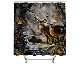 "Cheerhunting Deer Shower Curtain,Deer Couple in The Foggy Jungle, Shower Curtain with Hooks for Bathroom, 72""W x 72""H Waterproof Fabric Bathroom Décor"