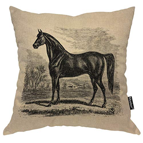 Moslion Throw Pillow Cover Horse 18x18 Inch Vintage 1800S Horse Morgan Equestrian Sketch Square Pillow Case Cushion Cover for Home Car Decorative Cotton - Horse Cover