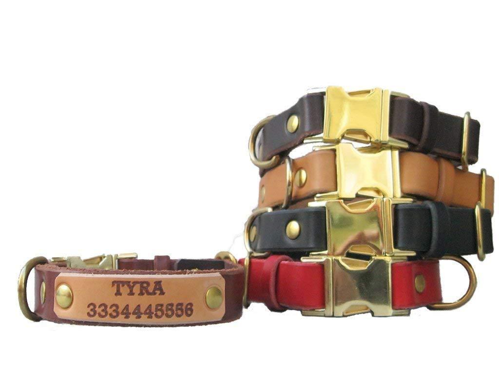 Collier pour chiens en cuir de premier choix avec nom gravé et/ou numéro - YupCollars - Boucle de libération confortable et durable - Fait à la main en Italie