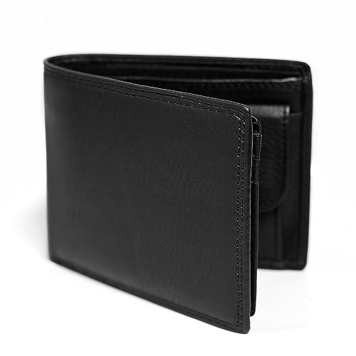 f564c5af099d Lifezone メンズ 二つ折り財布 本革 牛革 レザー 小銭入れ 黒 ブロッキング スキミング防止 防水